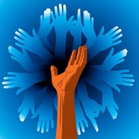 la union hace la fuerza: grupo de manos humanas Vectores
