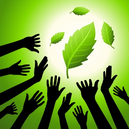 go green icons: idea of save environment Illustration