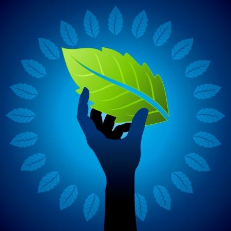 think green: save environment idea  Illustration