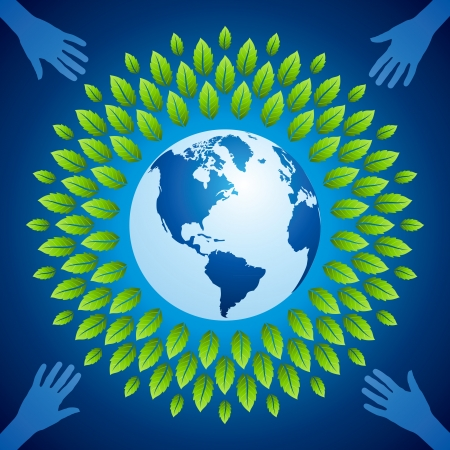 Hands holding a green earth Stock Vector - 17636868