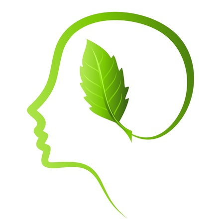 brain and thinking: human head, environmental idea  Illustration