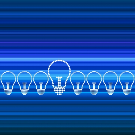 row of light bulbs with glowing Vector