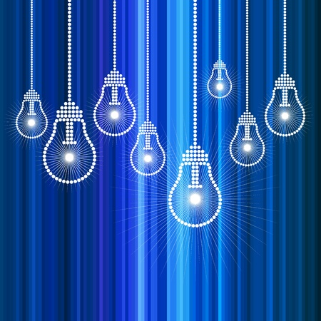 row of light bulbs with glowing Stock Vector - 17637673