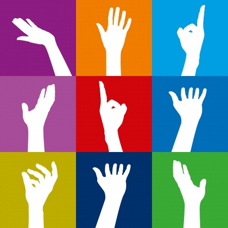 colorful people hands Stock Vector - 17635114