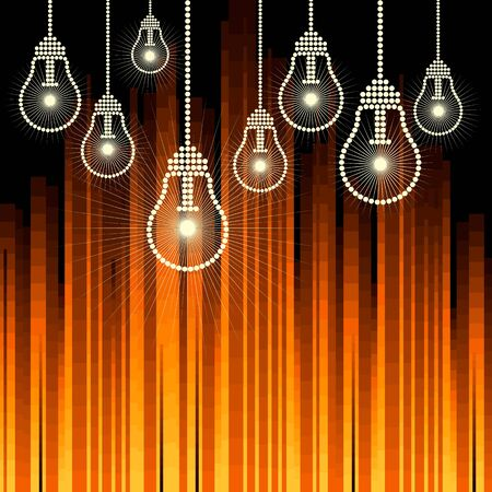 row of light bulbs with glowing Stock Vector - 17636866