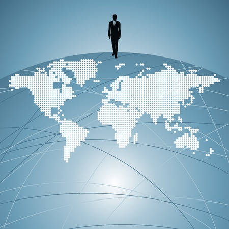 businessman silhouette with world map Stock Vector - 17636896