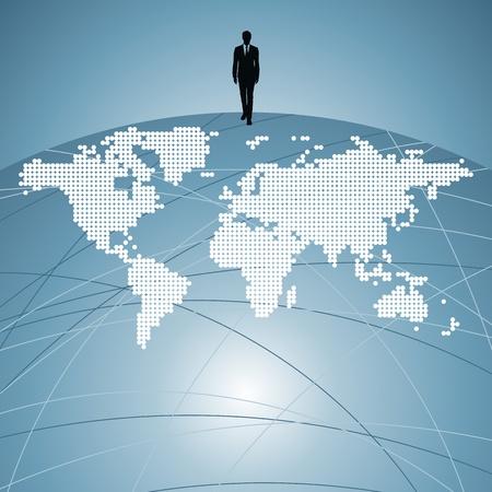 empresario: silueta hombre de negocios con el mapa del mundo