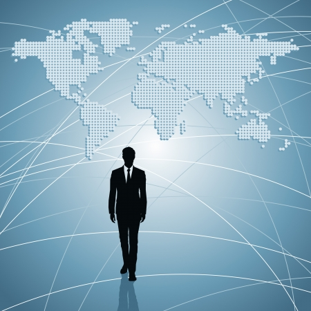 businessman silhouette with world map Stock Vector - 17637680