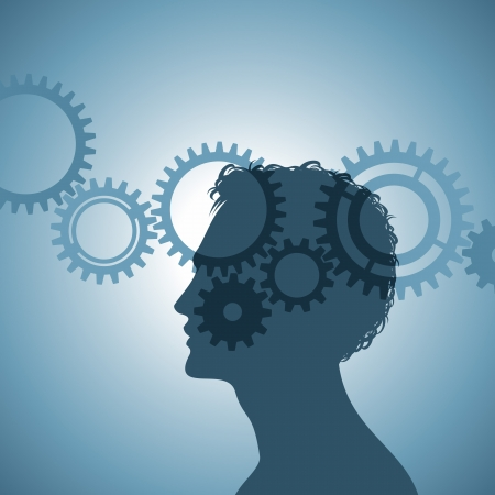 brain work: gears in the human head Illustration
