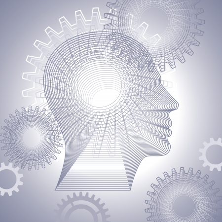 gears in the contour the human head Stock Vector - 17637731