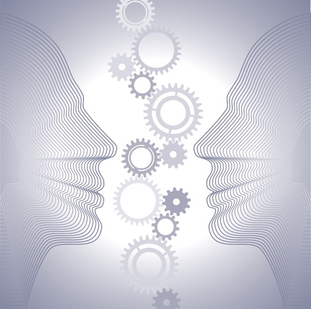 gears in the contour the human head Vector