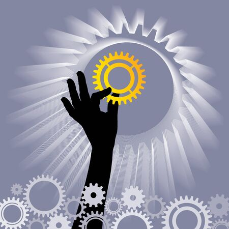 hand hold gears Stock Vector - 17636894