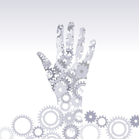 hand hold gears Vector