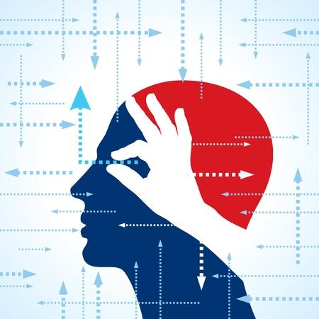 perceptie: Menselijk hoofd met de hand pijlen