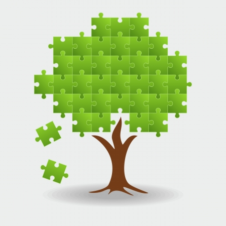 Abstract tree puzzle background Vector