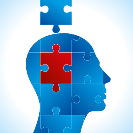 psychologist: Puzzle heads vector Illustration