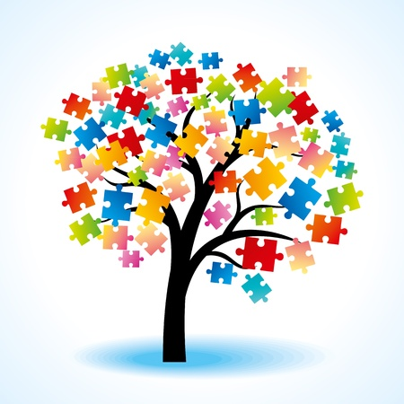 Abstract tree puzzle colorful background