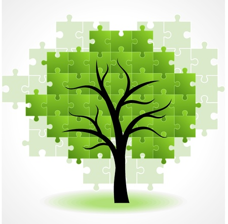 successful decisions: Abstract tree puzzle colorful background Illustration
