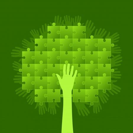 arbol de problemas: árbol de rompecabezas concepto de negocios