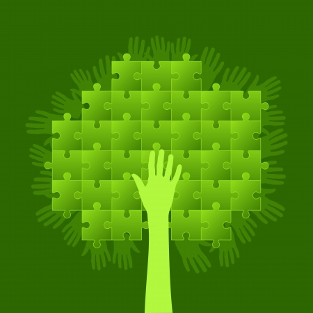 tree of puzzle  Business concept Vector