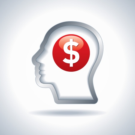 brain and thinking: Thinking Money - a concept showing a head brain thinking  Illustration
