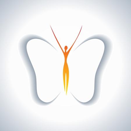 silueta de angel: chica bonita con alas de mariposa