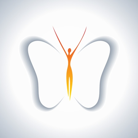 pretty girl with butterfly wings Vector
