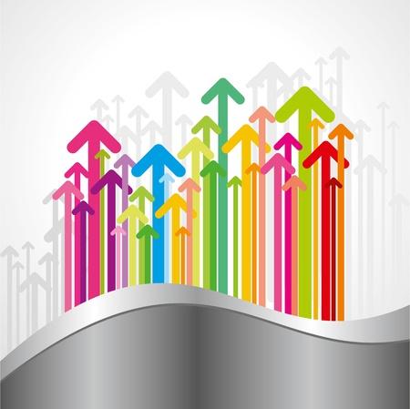 achieve goal: upward colorful arrow  business chart Illustration