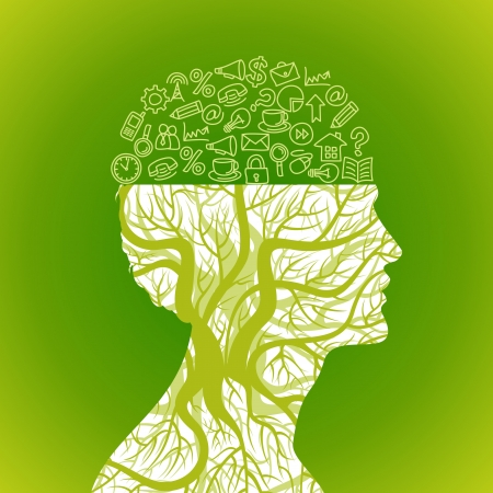 mente humana: iconos de oficinas en mente Vectores