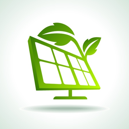 energia solar: Energía verde ecología del planeta vector concepto con paneles solares Vectores