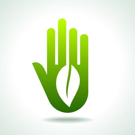 safty: Green hand with green leaf over white background