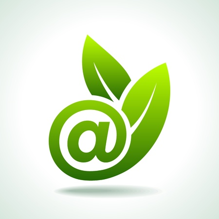 famous industries: Ecology Concept, Fresh Green Leaf with e-mail icon Illustration