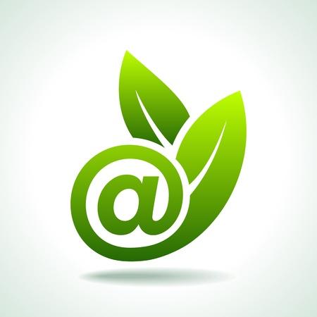 http: �kologie-Konzept, Fresh Green Leaf mit E-Mail-Symbol
