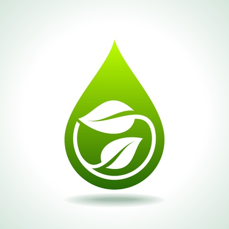 Icon bio with a green leaf and water drops Vector