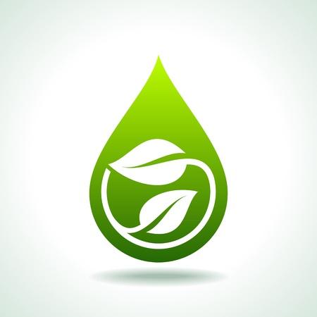icono ecologico: Icono bio con una hoja verde y gotas de agua Vectores