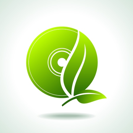 go green icons: Cd with green leaf