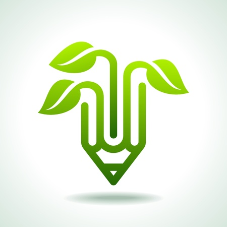 papeleria: L�piz creativo con hoja verde