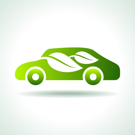 electric green: eco car icon