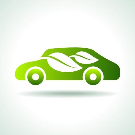 planeta verde: eco coche icono Vectores
