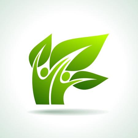 icono ecologico: icono del eco con feliz Vectores