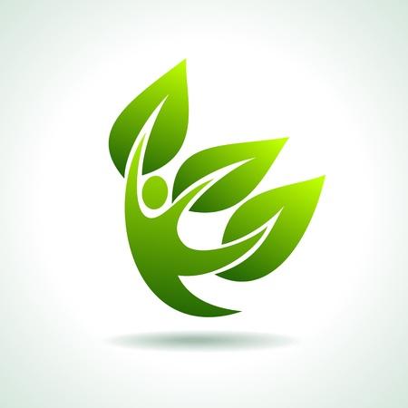 eco icon with happy Stock Vector - 17637791