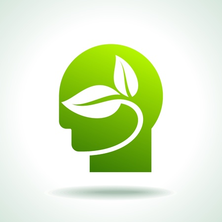 recursos renovables: Cabeza humana silueta hecha con iconos verdes Vectores