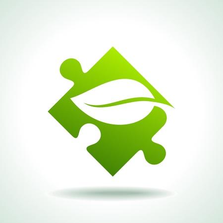 puzzle icon: Icon of green puzzle piece, vector