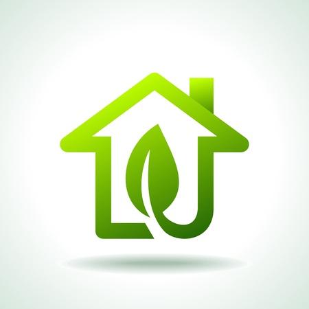 educazione ambientale: Bio Green CASE ICONE Vettoriali