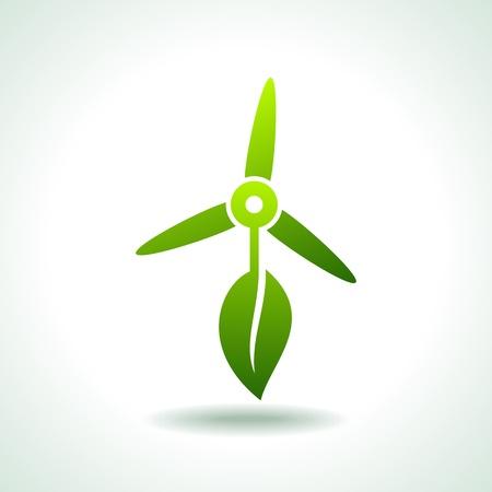 wind turbine: �oliennes avec le concept environnement feuille sauvegarde Illustration