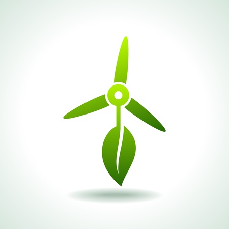 save the environment: wind turbines with leaf save environment concept Illustration