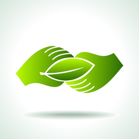 go green icons: Green hand with green leaf over white background