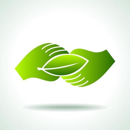 mani terra: Mano verde con foglia verde su sfondo bianco Vettoriali