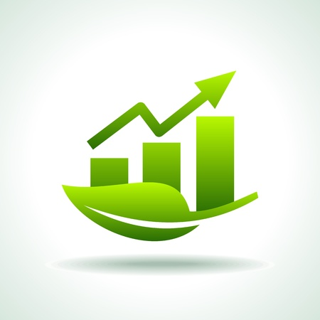 行き: 緑色のバーと矢印ビジネス グラフ