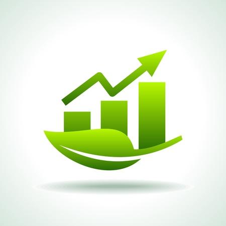 leaving: groene balken en pijl zakelijke grafiek Stock Illustratie